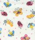 Snuggle Flannel Fabric -Mini Bug & Butterfly on Cream