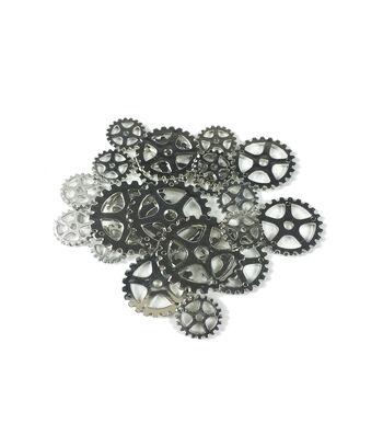 "Steampunk Multi Gears Embellishments 1.25""-Silver"