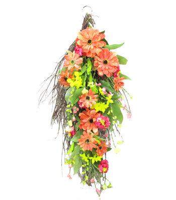Blooming Spring 26'' Zinnia & Daisy Teardrop-Orange & Yellow