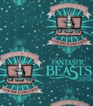 Fantastic Beasts Logo & Wand Cotton Fabric