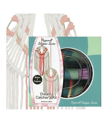 Pepperell Designer Macrame Modern Dream Catchers Kit-Coral & Pink