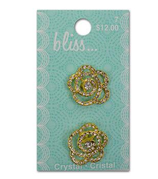 Bliss Crystal Swirl Flower Button