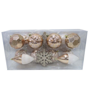 Maker's Holiday Christmas Mixed Media Boxed Ornaments-Rose Gold & White