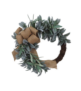 Blooming Autumn Greenery & Burlap Bow Wreath
