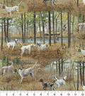 Snuggle Flannel Fabric-Realistic Pointer Dogs