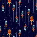 Nursery Flannel Fabric -Outerspace & Rocket Ships on Navy
