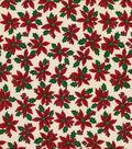 Christmas Cotton Fabric-Poinsettias on Cream