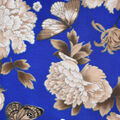 Silky Print Textured Fabric-Blue Floral Butterfly