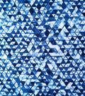 Stretch Chiffon Fabric 57\u0022-Navy & White Triangles
