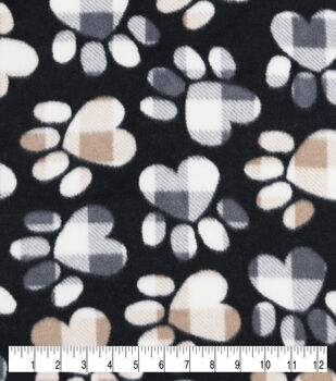 Anti-Pill Plush Fleece Fabric-Tossed Patterned Paws