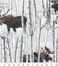 Anti-Pill Fleece Fabric 58\u0022-Moose In White Birch Trees