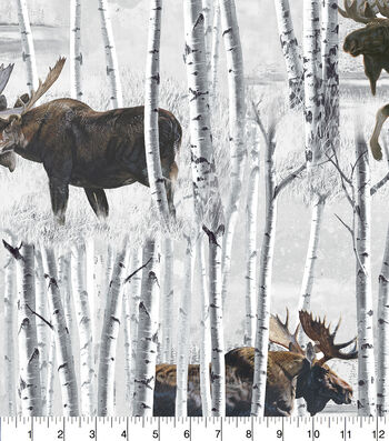"Anti-Pill Fleece Fabric 58""-Moose In White Birch Trees"