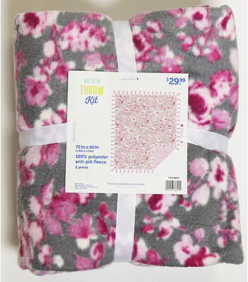 "No Sew Fleece Throw 72""-Orchid Floral"