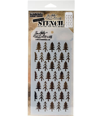 Stampers Anonymous Tim Holtz 4.13''x8.5'' Layering Stencil-Pines
