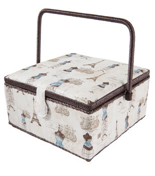 Extra Large Square Sewing Basket-Dress Forms on Cream