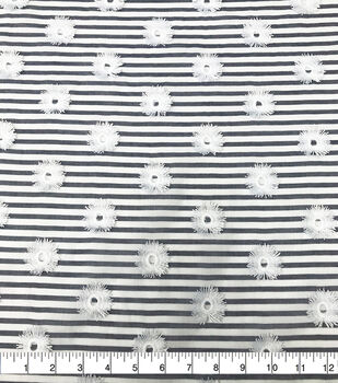 Specialty Cotton 3D Circle Embroidered Fabric-Blue White Stripe