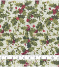 Christmas Cotton Fabric 43\u0022-Holly Berry Rustic Glitter