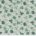 St. Patrick\u0027s Day Cotton Fabric-Greenery on Cream