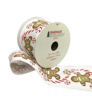 Handmade Holiday Christmas Ribbon 2.5''x25'-Gingerbread on White