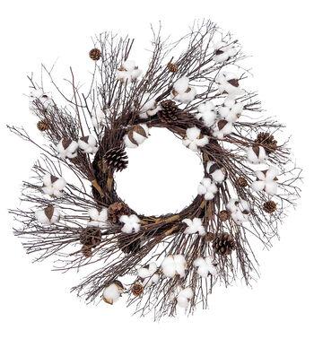 Blooming Autumn Cotton & Pinecone Fashion Wreath