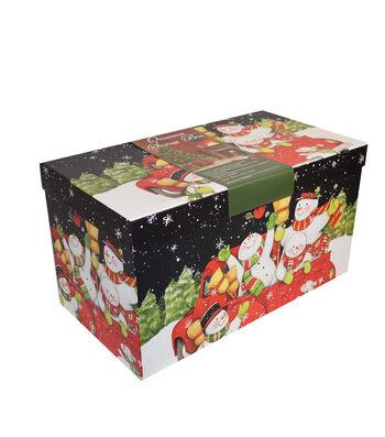 Christmas Large Ornament Storage Box-Snowmen & Hats