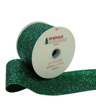 Handmade Holiday Christmas Glitter Ribbon 2.5''x25'-Green