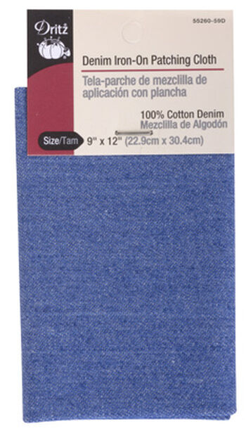 "Denim Iron-On Patching Cloth 9""x12""-Faded Blue"