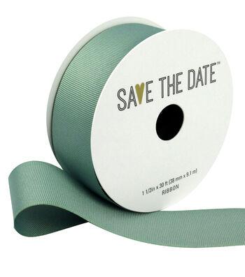 "Save the Date 1.5"" x 30ft Ribbon-Eucalyptus Grosgrain"