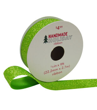 Handmade Holiday Christmas Glitter Ribbon 7/8''x9'-Lime Green