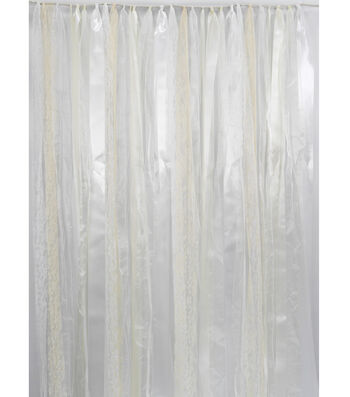 Save the Date 3'x6' Ribbon Backdrop-Ivory & White