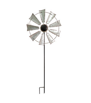 In the Garden 17''x48.5'' Galvanized Windmill Kinetic Stake
