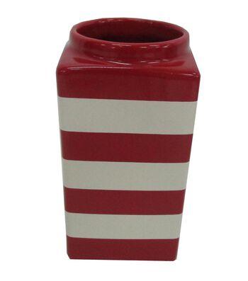 Americana Patriotic Vase-Red & White Stripe