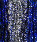 Casa Embellish Spring Ombre Sequin Fabric -Silver & Dazzling Blue