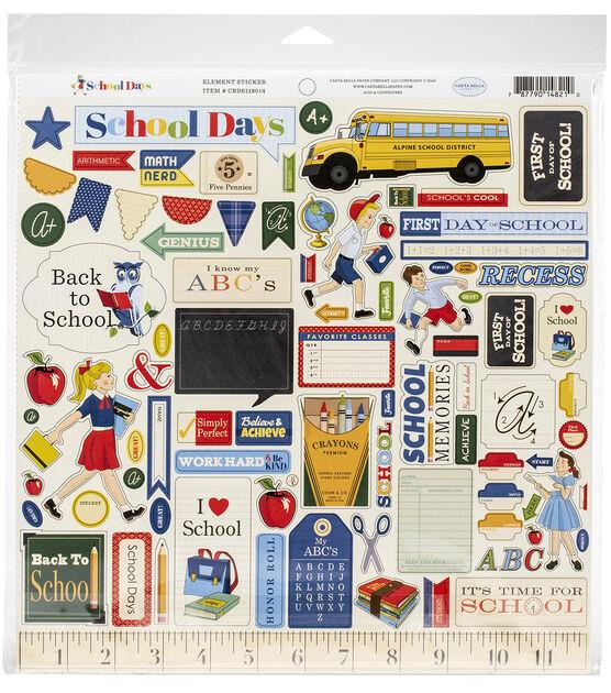 "School Days Collection Kit 12 x 12/"" Paper Pad NEW   Carta Bella"