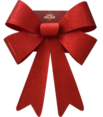 Maker's Holiday Christmas 20'' Glitter PVC Bow-Red