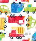 Snuggle Flannel Fabric -Cars & Trucks on White
