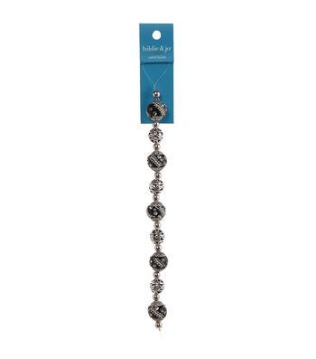 hildie & jo 7'' Anti Rhodium Strung Beads-Black