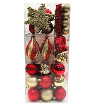Handmade Holiday Crimson Traditions 76 pk Ornaments in Suitcase