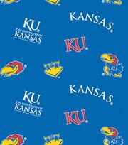 University of Kansas Jayhawks Fleece Fabric -All Over, , hi-res