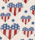 Patriotic Cotton Fabric -Flag In Hearts