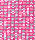 Blizzard Fleece Fabric-Hearts And Paws Pink
