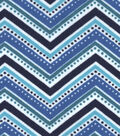 Snuggle Flannel Fabric -Peacock Dotted Chevron