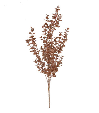 Blooming Holiday Christmas Glitter Eucalyptus Bush-Rose Gold