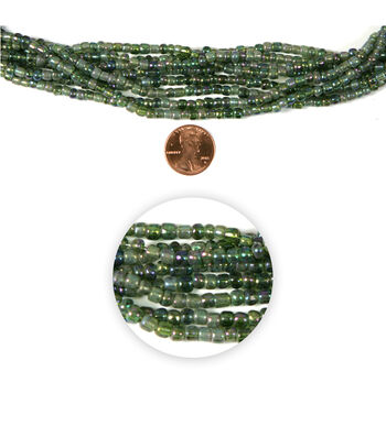 Blue Moon Strung Glass Seed Bead Hank,Light Green AB