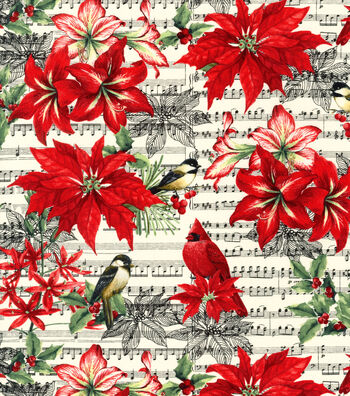 Christmas Cotton Fabric -Birds and Music