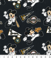 Milwaukee Brewers Cotton Fabric-Mickey, , hi-res