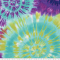 Anti-Pill Plush Fleece Fabric-Blue, Green & Purple Tie Dye