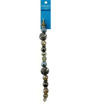 hildie & jo 7'' Round Glass & Metal Strung Beads-Blue & Silver