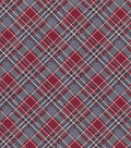 Vintage Cotton Fabric 43\u0027\u0027-Red, Blue & White Bias Plaid on Gray