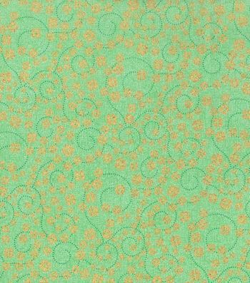 St. Patrick's Day Cotton Fabric -Shamrock Scroll Gold Glitter